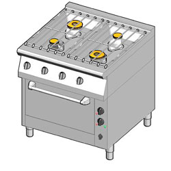 4243152 | Gas range with electric oven Metos 8GHUBE/80 |