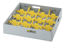 4550010 | Grey compartment basket Metos with yellow compartment for 16 |