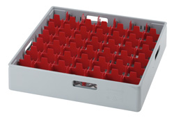 4550016 | Grey compartment basket Metos with red compartment for 49 x |