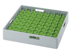 4550018 | Grey compartment basket Metos with green compartment for 64 |