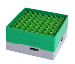 4550060 | Grey compartment basket Metos with green heightening frame and compartment for 64 x Ø52x220 mm glass |