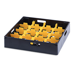 4550310 | Black compartment basket Metos with yellow compartment for 1 |