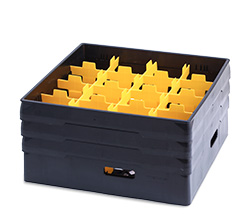 4550352 | Black compartment basket Metos with black heightening frame and yellow compartment for 16 x Ø110x220 |